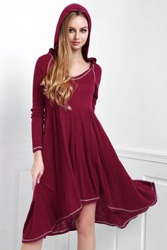 Photo: Solid Color Hooded Long Sleeve Dress  Please Follow ► +World Of FASHION