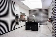 Gwen Stefani's bold striped kitchen