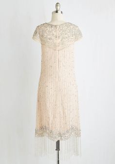 I Bead Your Love Dress in Ivory. This dazzlingly deco dress is in dire need of your stylish prowess so it can be seen on the scene! #blush #modcloth