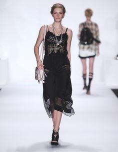 Rebecca Minkoff Look 22: Embroidered Silk Suarez Dress in Black