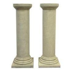 """Pair Vintage 39"""" Faux Concrete Fiberglass Column Pedestals ..."""