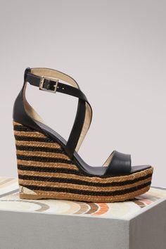 ce9d10d2b4f4 JIMMY CHOO Portia 120 Leather Wedge Sandals.  jimmychoo  shoes   Tokyo  Fashion
