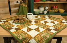 "Debbie Mumm: Quilt Project January 2010-Spice up those winter days with a fresh apple pie from your oven. Showcase it on this tablecloth featuring everyday spices and homemade treats. Refer to Accurate Seam Allowance.Whenever possible use Assembly Line Method. Press seams in direction of arrows. Finished Size 38"" x 38"""