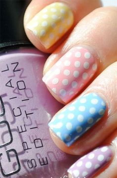 Polka dot pastel nails