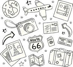 Viagem e Rabiscos ilustração de viagem e rabiscos e mais banco de imagens de areia royalty-free