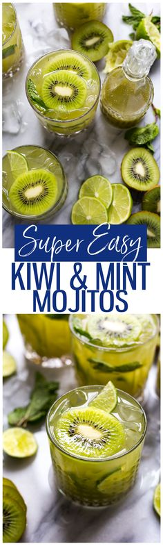 These Super Easy Mint and Kiwi Mojitos are a delicious, fizzy cocktail idea filled with tangy flavours and crushed ice for a refreshing kick!