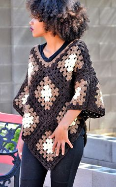 granny square poncho One size fits most, ombre crochet poncho made from soft acrylic yarn with much attention to detail. Its simplicity is what makes it an all season piece for you Crochet Cardigan Pattern, Granny Square Crochet Pattern, Crochet Jacket, Crochet Granny, Crochet Blanket Patterns, Crochet Shawl, Crochet Stitches, Crochet Vests, Knit Poncho