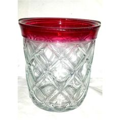 Vintage Ruby Flash Glass Ice Bucket,Indiana Glass Gazebo,INDIANA GLASS,Diamond Point,Ruby Ice Bucket,Wine Chiller,Red,Ruby,Flash Glass,1940s by JunkYardBlonde on Etsy