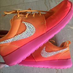 Nike roshe runs Nike roshe runs rare and custom crystals on the check! Worn only once Nike Shoes Sneakers