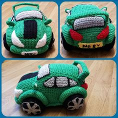 Picture of gree crochet race car along the bottom pictured from the side, top left is a picture of green crochet race car from in front top right a picture of the green crochet race car from behind