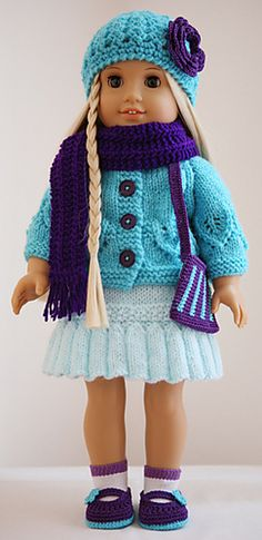 Cardigan, hat & scarf for 18 inch dolls - FREE