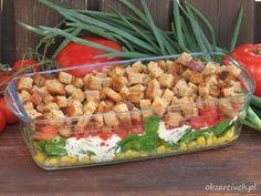 Grillowa sałatka z grzankami Sauerkraut Soup Recipe, Pork Stew Meat, Hunters Stew, B Food, Evening Meals, Pasta Salad, Soup Recipes, Grilling, Salads
