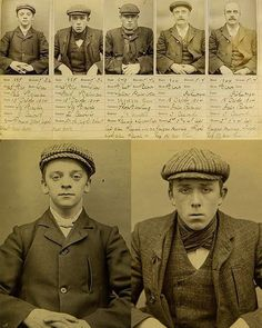 The real Peaky Blinders. Birmingham Gang Mugshots - The Real Peaky Blinders. A notorious Birmingham gang that had blades sewn into the peaks of their caps so they could use them as weapons. Peaky Blinders Real, Peaky Blinders Series, Peaky Blinders Quotes, Peaky Blinders History, Peaky Blinders Costume, Vintage Photographs, Vintage Photos, Boardwalk Empire, Mug Shots