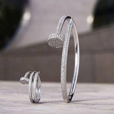 Cartier Juste un Clou white gold and diamond bracelet Cartier Love Bracelet Diamond, Cartier Jewelry, Diamond Bracelets, Love Bracelets, Diamond Jewelry, Cute Jewelry, Jewelry Accessories, Women Jewelry, Jewelry Box
