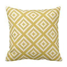 Navajo Gemetric Pattern in Mustard Yellow Throw Pillow