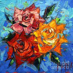 Abstract Roses On Blue - Mona Edulesco