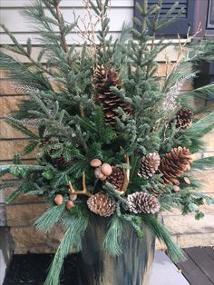 Winter pot: Balsam fir, spruce and white pine with gold accents and gold antlers. , Winter pot: Balsam fir, spruce and white pine with gold accents and gold antlers! Christmas Urns, Christmas Planters, Christmas Arrangements, Outdoor Christmas Decorations, Country Christmas, Winter Christmas, Christmas Home, Christmas Wreaths, Christmas Crafts