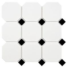 """Retro Super Octagon 11.625"""" x 11.625"""" Porcelain Mosaic Tile in Matte White with Glossy Black Dot"""
