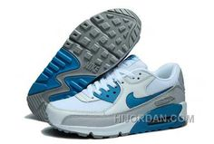 separation shoes b0814 e97ef Nike Air Max 90 Womens White Blue Grey Authentic StKZ7