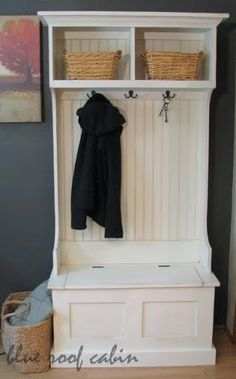 Hall Bench with hidden storage and hanging rack