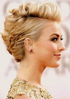 Julianne Hough Short Hair Style: Subtle Faux Hawk Updo Hairstyle