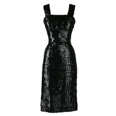 Vintage 1950's Black Sequins Cocktail Dress with Belt | From a collection of rare vintage evening dresses at http://www.1stdibs.com/fashion/clothing/evening-dresses/