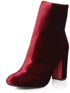 Burgundy 'Ariana' velvet ankle boot on ShopStyle.
