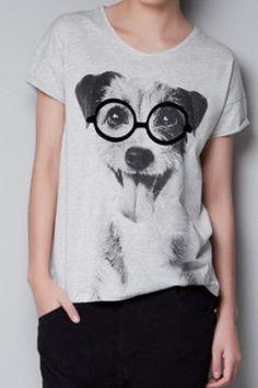 Light Grey Short Sleeve Dog Print T-Shirt