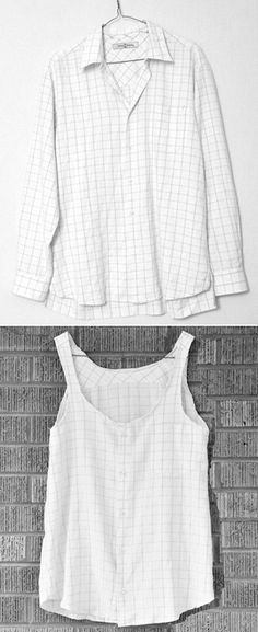 DIY- Men's button up to Summery flowy tank top - young mens clothing, mens fashion clothing online shop, big and tall mens clothing - DIY Fashion Pictures Cut Clothes, Sewing Clothes, Stylish Clothes, Reuse Clothes, Sewing Shirts, Clothing Hacks, Mens Clothing Styles, Upcycled Clothing, Upcycled Crafts