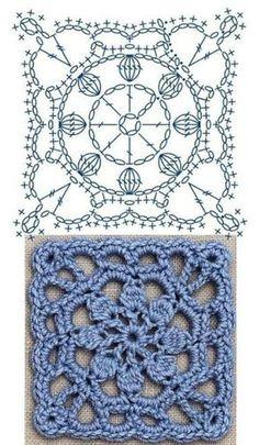 Crochet Motif Patterns, Crochet Diagram, Crochet Chart, Crochet Stitches, Crochet Ideas, Crochet Flower Squares, Crochet Granny Square Afghan, Crochet Blocks, Granny Squares