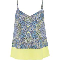 maurices Tiered Chiffon Tank In Paisley Print ($12) ❤ liked on Polyvore featuring tops, shirts, tanks, tank tops, sprout, shirts & tops, chiffon shirt, v neck tank top, tiered shirt and paisley tank top