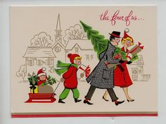 Vintage Family Christmas Shopping Greeting Card