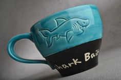 Shark Bait Mug Made To Order Shark Bait Soup Cocoa Coffee Mug by Symmetrical Pottery