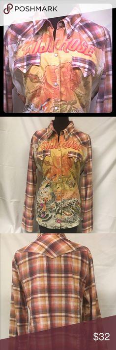Lucky brand long sleeve snap Pre owned Lucky Brand shirt woman's xL 100% cotton Lucky Brand Tops