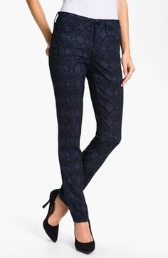 These are nice to go with your jacket! NYDJ 'Sheri' Metallic Print Skinny Twill Jeans available at #Nordstrom