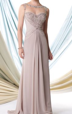 Taupe formal mother of the bride dress. Winter wedding. #Montage #moncherie #taupe #formal #elegant #detailback