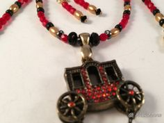 """VINTAGE Gothic CARRIAGE Strand Beaded 16.5"""" NECKLACE Earrings Set OOAK JCG"""