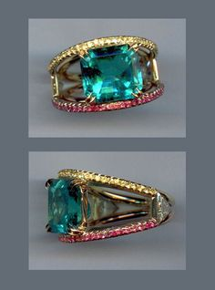 R-3374 Paraiba, Diamond, yellow and pink Sapphire pave set in 18K yellow Gold