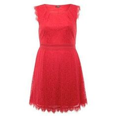 $18, Red Lace Skater Dress: Lovedrobe New Look Red Lace Skater Dress. Sold by New Look. Click for more info: http://lookastic.com/women/shop_items/66371/redirect