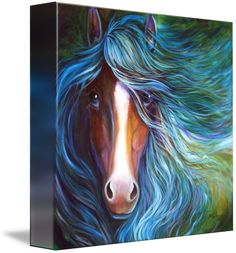 """""""BLUE MOON DUST EQUINE"""" by Marcia Baldwin: An equine abstract of a bay horse with white blaze and flowing mane in blue, an original oil painting by Marcia Baldwin"""