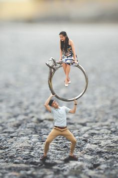 Adorable and unique pre-wedding engagement photo shoot idea where couples are turned miniature in big worlds! // Kevan and Ying Qi's Singapore pre-wedding photo shoot captured by Knotties Frame is about as cute and unique as they come! #weddingphotos