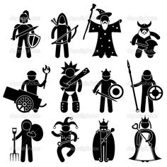 Ancient Warrior Character for Good Alliance Icon Symbol Sign Pictogram — Stock Illustration #8500514