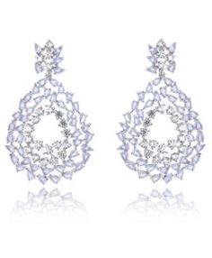 brinco moderno com zirconias calcedonia lilas e cristais com banho de rodio semi joias para festa