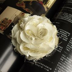 90mm satin fabric flower girl gift wedding bride great  corsage brooch White and Gold Netting lace. $6.50, via Etsy.