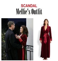 "On the blog: Mellie Grant's (Bellamy Young) red velvet long robe with satin trim | Scandal - ""Where's the Black Lady"" (Ep. 411) #tvstyle #tvfashion #outfits #fashion #FLOTUS #mellitz"