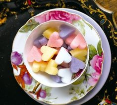 Coloured heart shaped sugar cube wedding favours