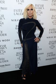 Donatella Versace opted for an all-blackensemble with a touch of sparkle.