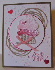 Sweet Cupcake Wishes CardYou can find Cupcake card and more on our website.Sweet Cupcake Wishes Card Bday Cards, Kids Birthday Cards, Handmade Birthday Cards, Birthday Images, Cupcake Card, Sweet Cupcakes, Stamping Up Cards, Heartfelt Creations, Paper Cards