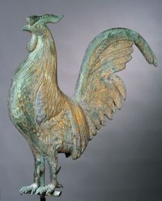 Molded Copper Hamburg Rooster Weathervane, attributed to L. Waltham Massachusetts, Ceramic Chicken, Coqs, Rooster Kitchen, Hen Chicken, Doodle Doo, Rooster Decor, Weather Vanes, Peafowl
