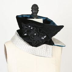 Quilted Asymmetrical Black and Creme Fancy Scarflette Collar